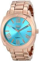 TKO ORLOGI Women's Big Turquoise Face Rose Gold-Tone Boyfriend Oversized Watch