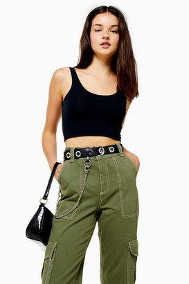 Topshop Womens Black Cropped Camisole Top - Black
