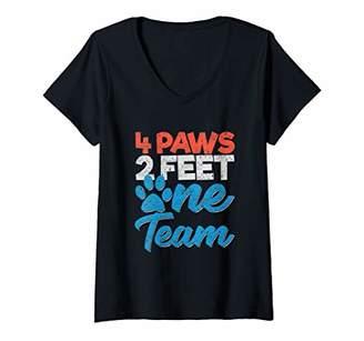 Womens K9 Unit Dog 4 Paws 2 Feet One Team Officers V-Neck T-Shirt