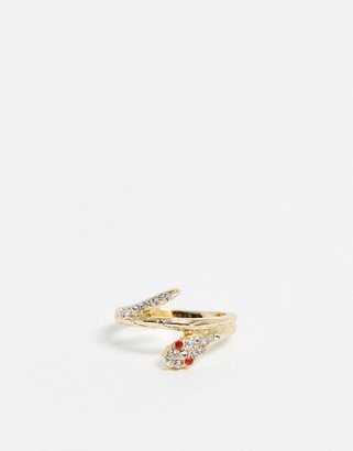 Asos Design DESIGN thumb ring in snake design with crystal in gold tone