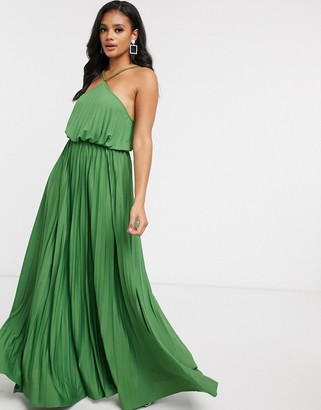 ASOS DESIGN halter neck pleated maxi dress in green