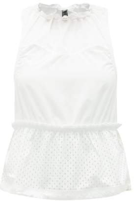 adidas by Stella McCartney Ruched-neck Mesh Peplum-hem Tank Top - Womens - White