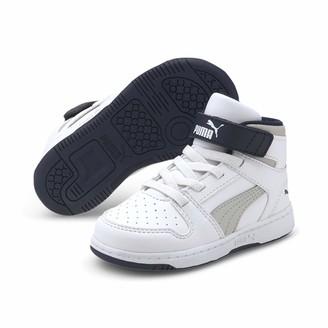 Puma Kids' Rebound Layup SL V INF Sneaker White-Gray Violet-Peacoat 9 UK