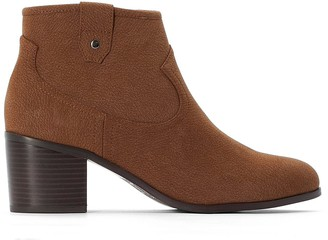 La Redoute Collections Plus Wide Fit Western Ankle Boots in Faux Suede with Block Heel