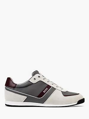 HUGO BOSS BOSS Glaze Leather Trainers, Open Beige