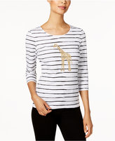 Karen Scott Striped Giraffe Graphic Top, Created for Macy's