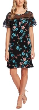CeCe Mixed-Media Floral-Print Dress