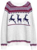 H&M Jacquard-knit Sweater - Dark gray/patterned - Ladies