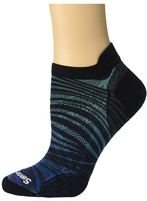 Smartwool PhD(r) Run Ultra Light Wave Print Micro (Alpine Blue) Men's Crew Cut Socks Shoes