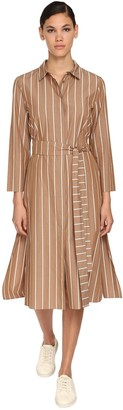 Max Mara 'S Striped Cotton Canvas Shirt Dress