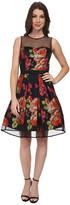 Eliza J Sleeveless Party Dress with Flocked Dot Illusion