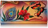 Anuschka Anna By Anna by Hand Painted Leather | Checkbook Wallet/Clutch | Peacock Butterfly