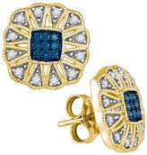 DazzlingRock Collection 1/4 Total Carat Weight BLUE DIAMOND FASHION EARRINGS