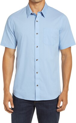 Travis Mathew Look Out Slim Fit Solid Short Sleeve Button-Up Shirt