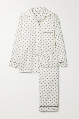 POUR LES FEMMES Piped Printed Cotton Pajama Set
