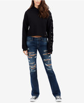 True Religion Billie Ripped Chain-Embellished Bootcut Jeans