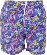 Soul Star Soulstar Mens Toria Vibrant Leaf Pattern Swim Shorts