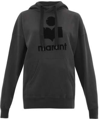 Etoile Isabel Marant Mansel Flocked-logo Cotton-blend Hooded Sweatshirt - Womens - Black