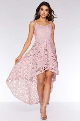 Quiz Pink Crochet Dip Hem Skater Dress