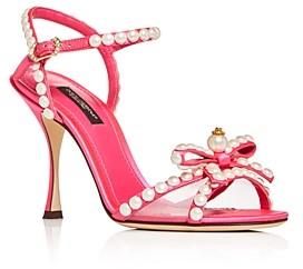 Dolce & Gabbana Women's Pearl Bow High-Heel Sandals