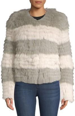 Pologeorgis Striped Fox Fur Coat