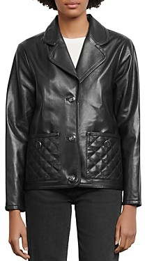 Sandro Shanon Quilted-Pocket Leather Jacket