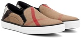 Burberry Gauden Check Leather-trimmed Slip-on Sneakers