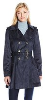 Jessica Simpson Women's Suede Belted Rain Trench Coat