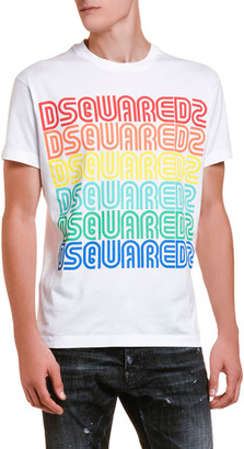 DSQUARED2 Men's Logo Typographic Repeated Rainbow T-Shirt