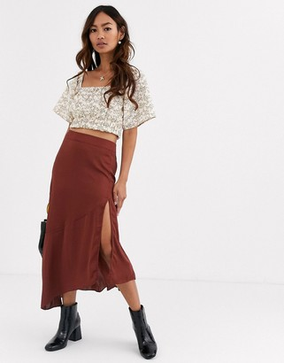 Free People Lola satin bias thigh split midi skirt