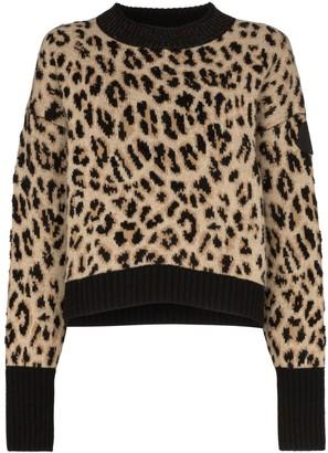 Moncler Leopard-Print Knitted Jumper