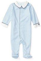 Ralph Lauren Striped Footed Pima Coverall, Blue/Navy, Size Newborn-9 Months