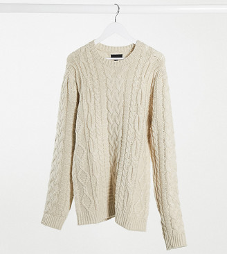 ASOS DESIGN Tall heavyweight cable knit crew neck jumper in oatmeal