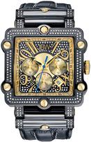 JBW Black Phantom Diamond Leather Strap Watch - Men