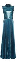 Luisa Beccaria Lurex Pleated Long Dress
