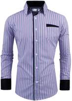 Tom's Ware Mens Classic Slim Fit Vertical Striped Longsleeve Dress Shirt TWCS16-S