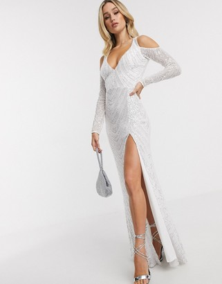 Goddiva plunge maxi dress with thigh split and cold shoulder in white sequin