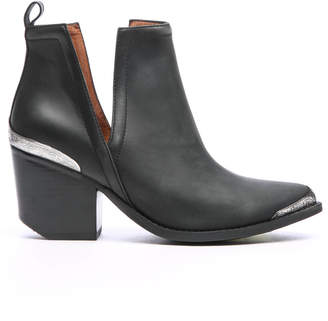 Jeffrey Campbell Cromwell Leather Western Cut Out Bootie Black 6.5