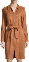 Neiman Marcus Faux-Suede Belted Shirtdress, Brown