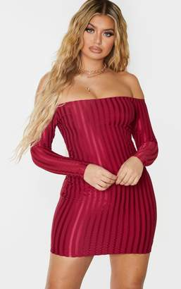 Bardot Raw Burgundy Satin Stripe Detail Bodycon Dress