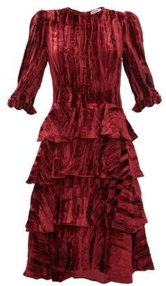 Batsheva Ruffle-tiered Crushed Velvet Midi Dress - Womens - Burgundy