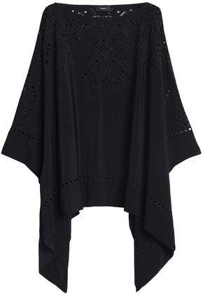 Theory Draped Broderie Anglaise-Paneled Crepe Top