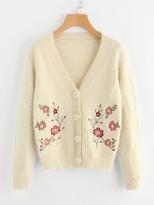 Shein Flower Embroidered Fuzzy Cardigan