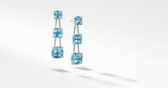 David Yurman Chatelaine Linear Chain Earrings With Blue Topaz And