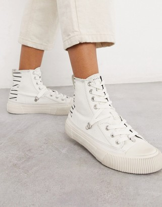 AllSaints elena branded canvas high tops in white