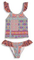 OndadeMar Toddler's, Little Girl's & Girl's Two-Piece Ombu Ruffle Tankini