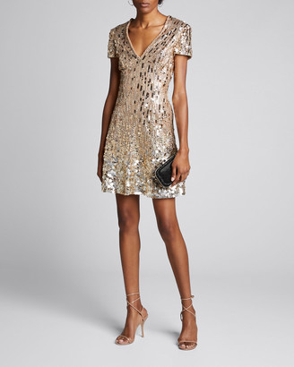 Jenny Packham Cap-Sleeve Deep V Cap-Sleeve Dress