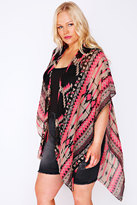 Yours Clothing Black & Neon Pink Aztec Print Lightweight Woven Wrap
