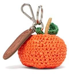 Acne Studios Orange Woven And Leather Key Ring - Womens - Orange