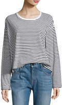 Alexander Wang Long-Sleeve Drop Shoulder Striped Cotton Tee, White